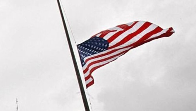 American flag at half-staff