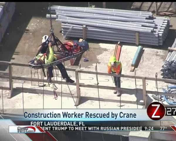 Injured Florida Construction Worker Rescued by Crane_80133285