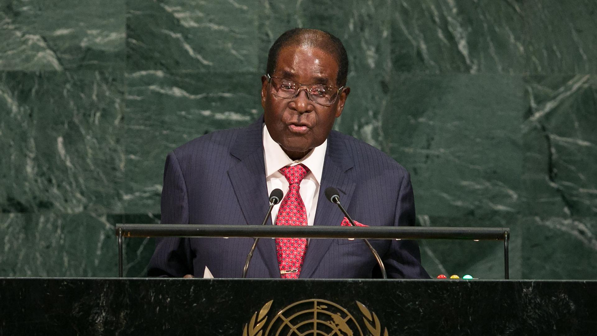 Zimbabwe's President Robert Gabriel Mugabe, Zimbabwe, at United Nations UN general assembly in New York29787447-159532