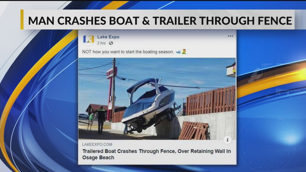 Man Accidentally Gets Boat Stuck on Concrete Wall