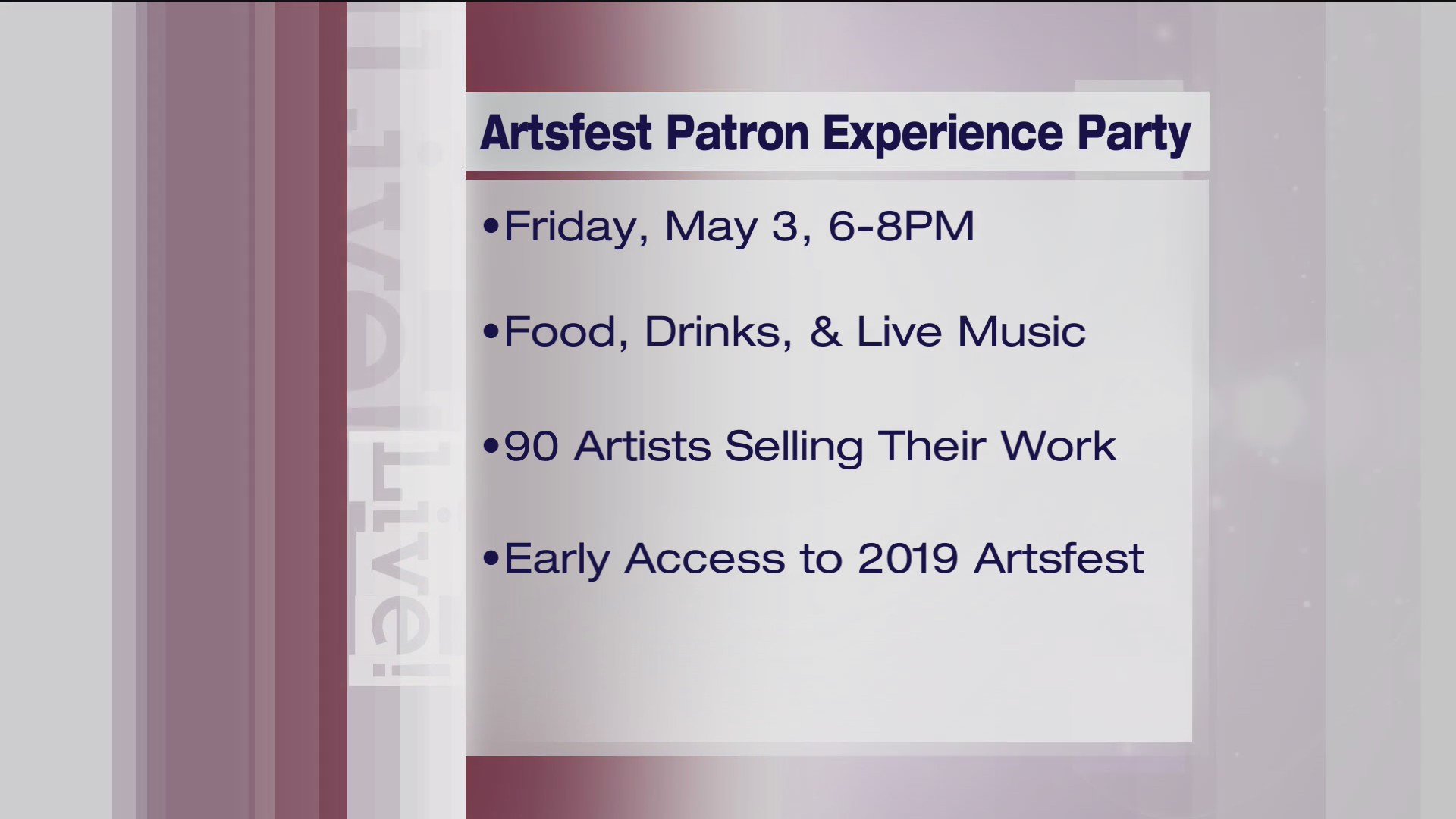 Artsfest Patron Experience Party - 4/24/19