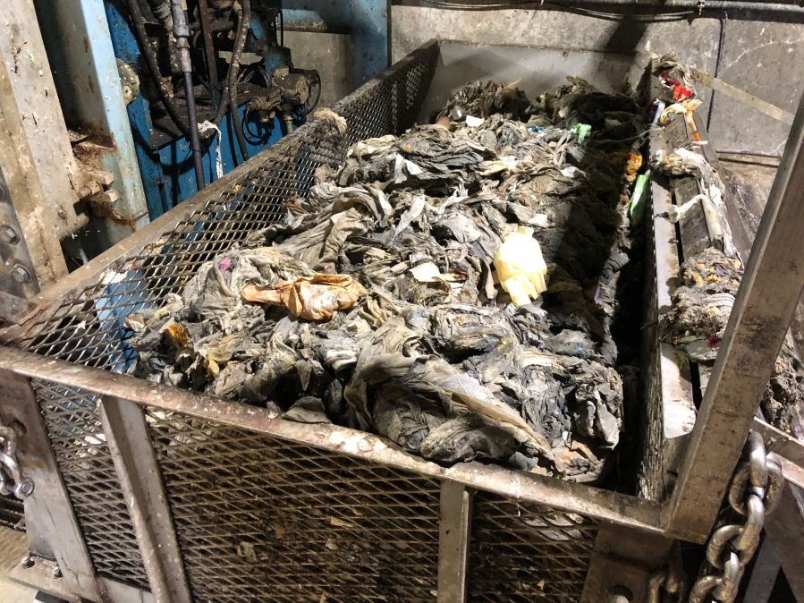 """A cart of """"flushable"""" wipes is collected at Springfield's Southwest Wastewater Treatment Plant."""